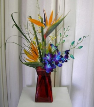 Colorful Tropical Mix flower Vase - $75.00