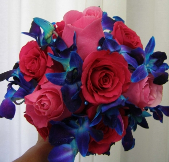 Hot Pink & Blue Bridal Bouquet - $150.00