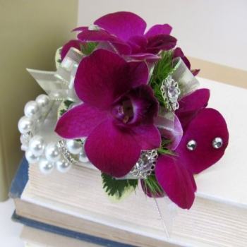 Blinged up orchid Wrislet - $60.00